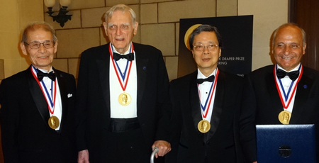 Dr. Akira Yoshino (left), together with co-recipients of the Charles Stark Draper Prize, John Goodenough, Yoshio Nishi, and Rachid Yazami