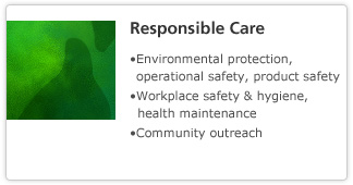 Responsible Care: Environmental protection, operational safety, product safety. Workplace safety & hygiene, health maintenance. Community outreach.