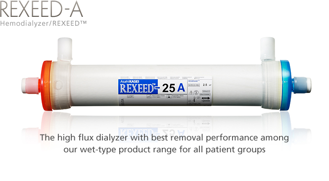 Hemodialyzer / REXEED-A: The high flux dialyzer with best removal performance among our wet-type product range for all patient groups.