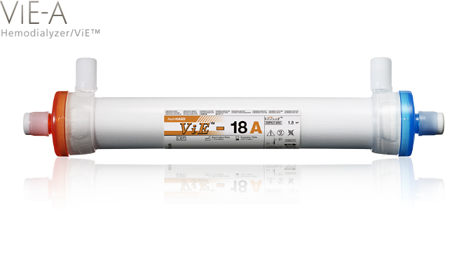 Hemodialyzer / ViE-A: High flux dialyzer with Vitamin E-coated membrane. Best performance among ViE™-series.